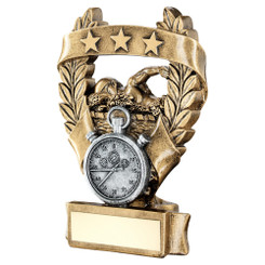 Brz/Pew/Gold Swimming 3 Star Wreath Award Trophy - 7.5In