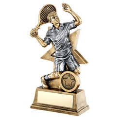 Brz/Gold/Pew Male Tennis Figure With Star Backing Trophy (1In Centre) - 9In