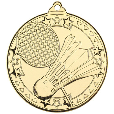 Badminton 'Tri Star' Medal - Gold - 2In