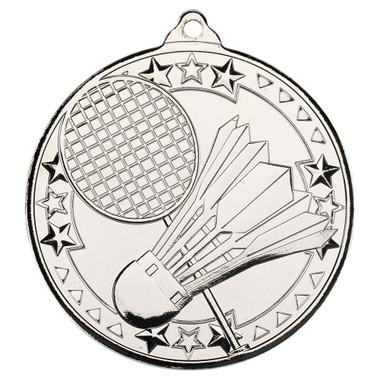 Badminton 'Tri Star' Medal - Silver - 2In