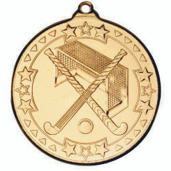 Hockey 'Tri Star' Medal - Gold 2In