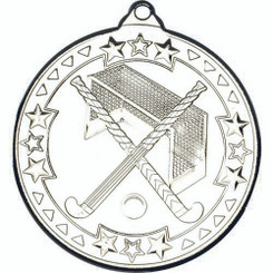 Hockey 'Tri Star' Medal - Silver 2In