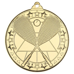 Squash 'Tri Star' Medal - Gold - 2In