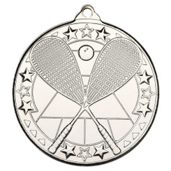 Squash 'Tri Star' Medal - Silver - 2In