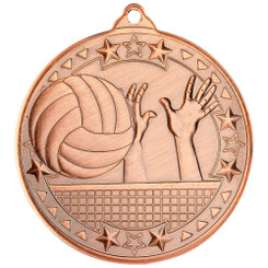 Volleyball 'Tri Star' Medal - Bronze - 2In