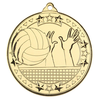 Volleyball 'Tri Star' Medal - Gold - 2In