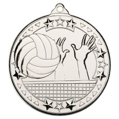 Volleyball 'Tri Star' Medal - Silver - 2In