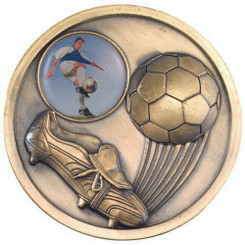 Football And Boot Medallion (1In Centre) - Antique Gold 2.75In