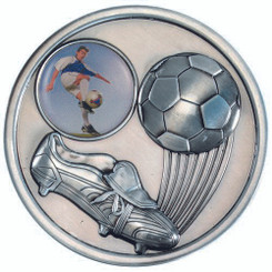 Football And Boot Medallion (1In Centre) - Antique Silver 2.75In