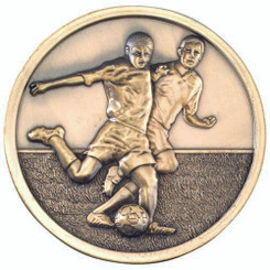 Football Players Medallion - Antique Gold 2.75In