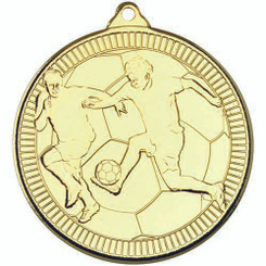 Football 'Multi Line' Medal - Gold 2In