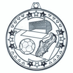 Football 'Tri Star' Medal - Silver 2In