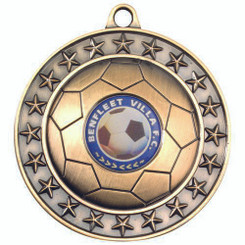 Football Medal (1In Centre) - Antique Gold 2.75In
