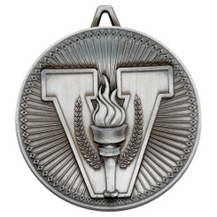 Victory Torch Deluxe Medal - Antique Silver 2.35In