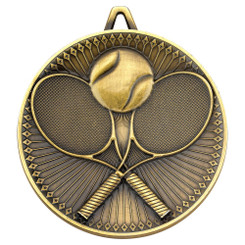 Tennis Deluxe Medal - Antique Gold 2.35In