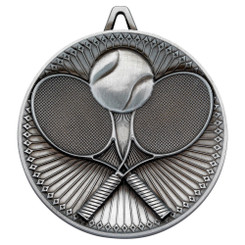 Tennis Deluxe Medal - Antique Silver 2.35In