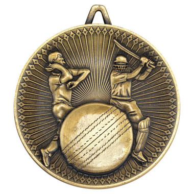 Cricket Deluxe Medal - Antique Gold 2.35In