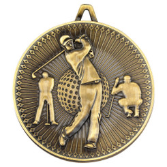 Golf Deluxe Medal - Antique Gold 2.35In