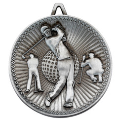 Golf Deluxe Medal - Antique Silver 2.35In