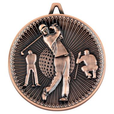 Golf Deluxe Medal - Bronze 2.35In