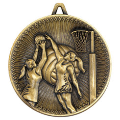 Netball Deluxe Medal - Antique Gold 2.35In