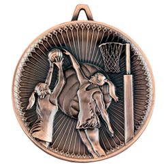 Netball Deluxe Medal - Bronze 2.35In