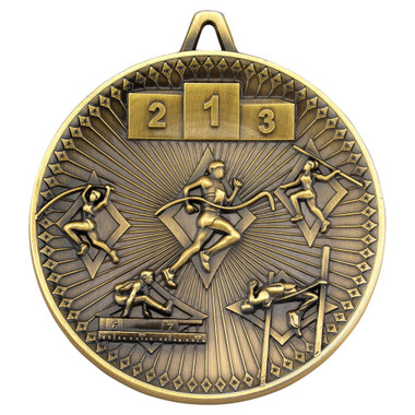 Athletics Deluxe Medal - Antique Gold 2.35In