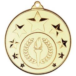 Multi Star Medal (1In Centre) - Gold 2In