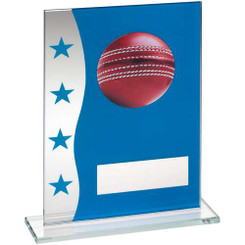 Blue/Silver Printed Glass Plaque With Cricket Ball Image Trophy - 6.5In