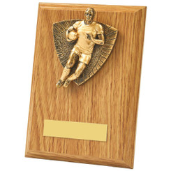 Antique Gold Male Rugby Wood Plaque Award - 15cm