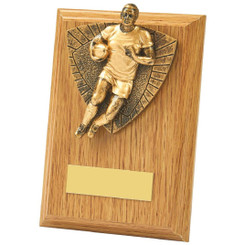 Antique Gold Male Rugby Wood Plaque Award - 13cm