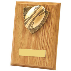 Antique Gold Rugby Ball Wood Plaque Award - 15cm