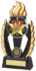 "Black/Gold Resin Flame Darts Trophy - TW18-074-782ZBP - 19cm (7 1/2"")"