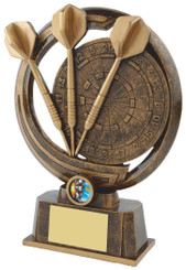 "Gold Resin Darts & Board Trophy - TW18-075-RS509 - 21.5cm (8 1/2"")"