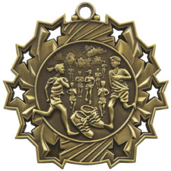 60mm Stars Distance Running Medal - Gold