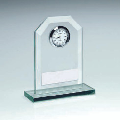 Jade Glass Clock Trophy - 4.25In