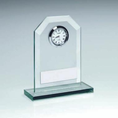 Jade Glass Clock Trophy - 6.25In