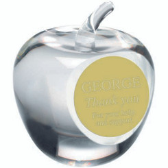 Clear Glass 'Apple' Paperweight Trophy - 3.5In