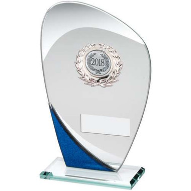 Jade/Blue/Silver Glass Plaque With Silver Trim Trophy - (2In Centre) 8In