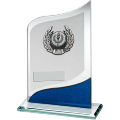 Jade/Blue/Silver Pointed Glass With Silver/Blk Trim Trophy - (1In Centre) 8In