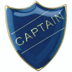School Shield Badge (Captain) - Blue 1.25In