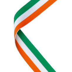 Medal Ribbon Green/White/Orange - 30 X 0.875In
