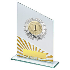Jade/Silv/Gold Glass Plaque With Silver Trim Trophy - (2In Centre) - 6.5In