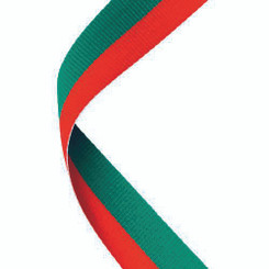 Medal Ribbon Red/Green - 30 X 0.875In