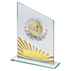 Jade/Silv/Gold Glass Plaque With Silver Trim Trophy - (2In Centre) - 7.25In