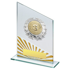 Jade/Silv/Gold Glass Plaque With Silver Trim Trophy - (2In Centre) - 8In