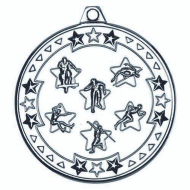 Multi Athletics 'Tri Star' Medal - Silver 2In