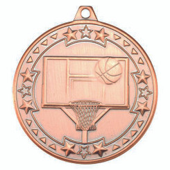 Basketball 'Tri Star' Medal - Bronze 2In