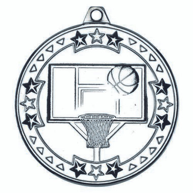 Basketball 'Tri Star' Medal - Silver 2In