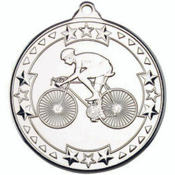 Cycling 'Tri Star' Medal - Silver 2In